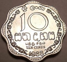 Gem Unc Sri Lanka 1988 10 Cents~Last Year Ever Minted~Scalloped~Free Shipping