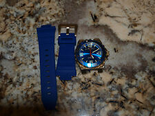 """Men's Swiss Legend """"Expedition"""" Watch Blue Dial Gold Case Blue Silicone Band"""