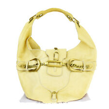 Authentic JIMMY CHOO Logos Shoulder Bag Shoppers Leather Beige Italy 02S109
