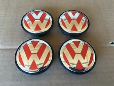 NEW SET OF 4 RED VW VOLKSWAGEN CHROME CENTER WHEELS HUB CAPS LOGO 3B7601171XRW