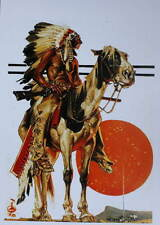 Indian on Horse with Rifle Orghange Moon by J C Leyendecker vintage art