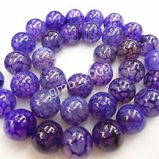 "8mm Natural Purple Dragon Veins Agate Round Gemstone Loose Beads 15""AAA"