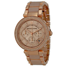 Michael Kors Parker Rose Gold-tone and Blush Acetate Ladies Watch