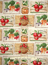Vegetable Fruit Fabric - Apple Carrot Pumpkin Farmers Market SPX #25613 - Yard