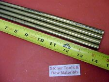 "4 Pieces 3/8"" C360 BRASS SOLID ROUND ROD 14"" long New Lathe Bar Stock .375"""