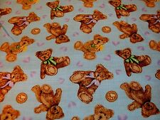 1 Yd Spectrix Quilt Fabric Boyds Collection Boyd Bears Lavender Hearts on blue