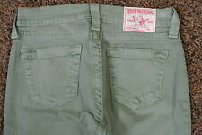 TRUE RELIGION BROOKLYN 27X26 Ankle Jeans NWOT$314 Shaded Green!Sexy Slim Stretch