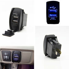 12-24V Blue LED Light Dual USB Port Car Suv Charger Socket ARB Jack Switch 3.1A