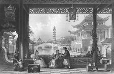 China RICH MANDARIN VILLA GARDENS PALACE ~ 1842 Architecture Art Print Engraving