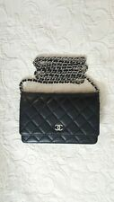 Chanel Black Lambskin Flap Wallet On Chain WOC Silver Hardware