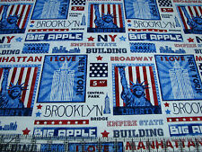 2.3 Yards Quilt Cotton Fabric - Timeless Treasures New York Big Apple Patch