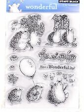 Penny Black Clear Cling Rubber Stamps Set Wonderful Hedgehogs and Flowers New