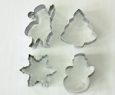 Christmas Themed Metal Cutters, Pack of 4, Santa, Tree, Snowman, Snowflake