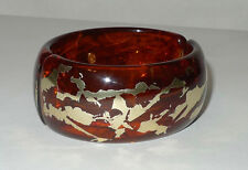 Kenneth Jay Lane Faux Amber w Gold Cuff Bracelet/Bangle in VG Condition