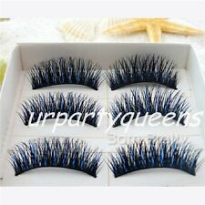 5 Pairs Pretty Double-Colored Black and Blue Thick Long Curly False Eyelashes