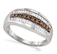 Bold! .925 Silver Chocolate Brown & White Round & Baguette Diamond Ring .75ct