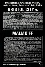 78/9 Bristol City V Malmo FF, amistoso, Perfecto Estado