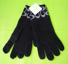 COACH Women's Signature Logo Knit Touch Winter Gloves F86026 in Black/Grey, NWT.