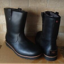 UGG STONEMAN TL BLACK WATERPROOF LEATHER SHEEPSKIN BOOTS US 9 MENS 1008143