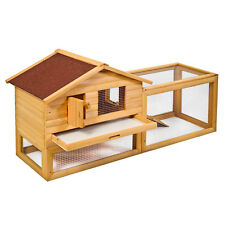 "62"" Backyard Wooden Rabbit Hutch Chicken Coop House Bunny Hen Pet Animal Run"