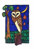The Resting Place (Owl) Unique Stained Glass Art Blank Greetings Card