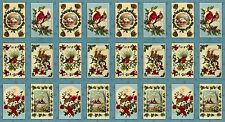 SEASONS GREETINGS FABRIC BLOCKS PANEL Vintage Postcards Prints Moda Fabrics /Blu