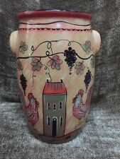 Lang Wine Country Rooster Redware Large Vase Urn Pot Pottery Kitchen Deco 9x5.5""