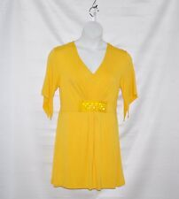 M by Marc Bouwer Knit Tunic With Embellished And Pleated Detail Size S Yellow