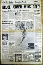 1976 newspaper BRUCE JENNER wins MEN'S OLYMPIC DECATHALON gold medal -b4 CAITLYN