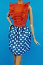 BARBIE FASHIONISTAS RED RUFFLE TOP BLUE FLOWER PRINT SKIRT DRESS ALSO FITS MODEL