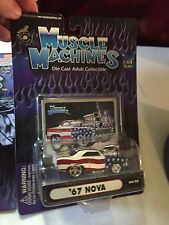 MUSCLE MACHINES DIE CAST ADULT COLLECTIBLE 1:64 ~ '67 NOVA 02-76 RED WHITE BLUE