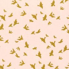 Michael Miller Flight Fabric in Cameo Pink. Birds. Metallic. By the Fat Quarter