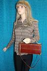 50er 60er Vintage Tasche CLUTCH Baguette BAG cognac Kroko Optik 50s 60s SATCHEL