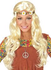 Hippie Perücke mit Blumenband blond NEU - Karneval Fasching Perücke Haare