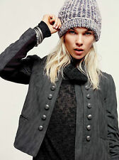 NEW Free People 6 M MILITARY JACKET COAT $198 SHIRT TOP Vegan Grey Faux Leather