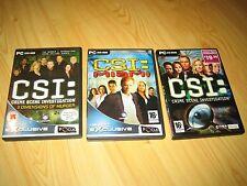 CSI CRIME SCENE INVESTIGATION SENSES THE BOARD GAME + 3 CSI COMPUTER GAMES