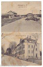 AK Schöneck im Vogtland -- Bahnhof und Klingenthaler Straße -- um 1917