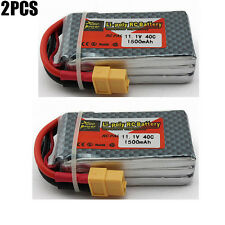 2PCS 11.1V 1500mAh 3S 40C XT60 Lipo Battery for RC Quadcopter Helicopter Drone