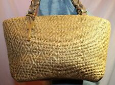 FOSSIL Straw Medium Tan Shoulder Hobo Tote Satchel Slouch Purse Bag