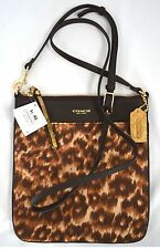 $138 NWT Coach 50808 Madison Ocelot North/ South Swingpack Cross Body Handbag
