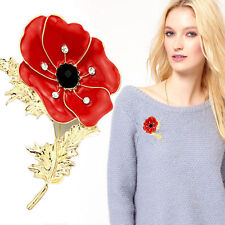 New Red Remembrance Poppy Brooch Pin  Crystal Badge Gold Flower Gift UK STOCK