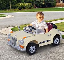 Homcom–Macchinina Elettrica per Bambini Modello Retrò con MP3,126×67×55cm,Crema