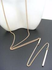 $18 Stephan & Company Plain Bar Pendant Lariat Necklace Goldtone Chain 27""