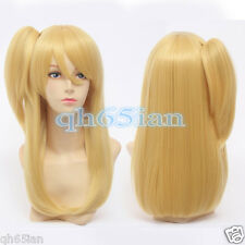 Cosplay Party Wigs Women FAIRY TAIL Lucy Long blonde Straight wig + One Ponytail