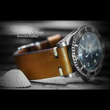 Müller&Son 20 mm Genuine Horween Leather Watch Strap Tan Custom Made in USA