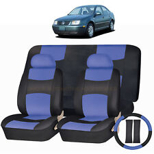 PU LEATHER BLUE & BLACK SEAT COVERS 11PC SET for VOLKSWAGEN JETTA