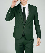 Mens Suits Dark Green One Button Slim Fit Business Casual Suit Jackets + Pants