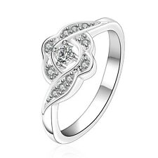 Silver Plated Flower Zircon engagement ring 17.5 mm size O FR245