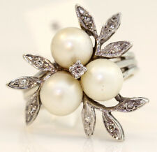 ELEGANT 14K WHITE GOLD RING WITH PEARLS AND DIAMONDS! 6.8 GRAMS #L18