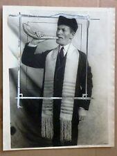 1925 Press Photo RaBBI NAVIASKI shofar HEBREU HORN  ORIGINAL JUDAICA
